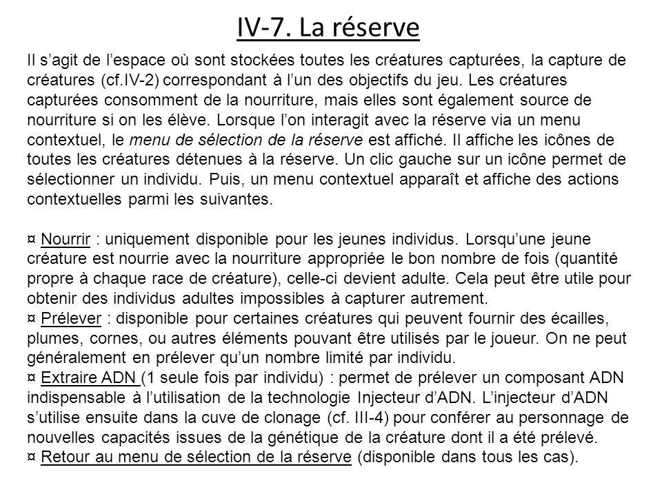 IV-7. La réserve Il sagit de lespace où sont stockées toutes les créatures capturées, la capture de créatures (cf.IV-2) correspondant à lun des object
