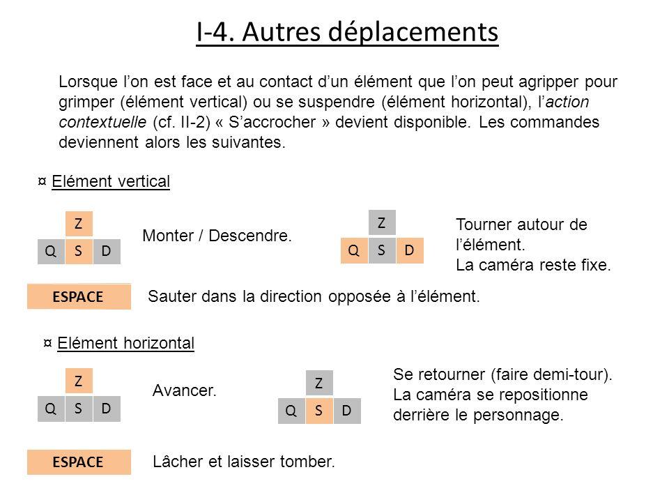 I-4. Autres déplacements Lorsque lon est face et au contact dun élément que lon peut agripper pour grimper (élément vertical) ou se suspendre (élément