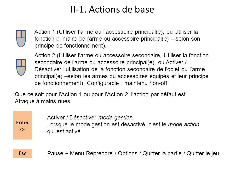 II-1. Actions de base Action 1 (Utiliser larme ou laccessoire principal(e), ou Utiliser la fonction primaire de larme ou accessoire principal(e) – sel