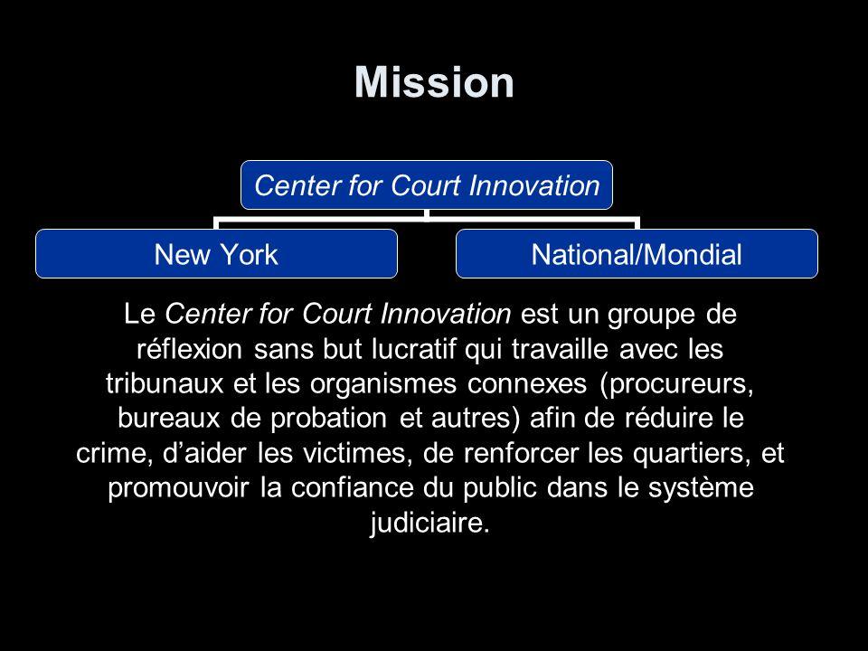 Mission Center for Court Innovation New YorkNational/Mondial Le Center for Court Innovation est un groupe de réflexion sans but lucratif qui travaille avec les tribunaux et les organismes connexes (procureurs, bureaux de probation et autres) afin de réduire le crime, daider les victimes, de renforcer les quartiers, et promouvoir la confiance du public dans le système judiciaire.