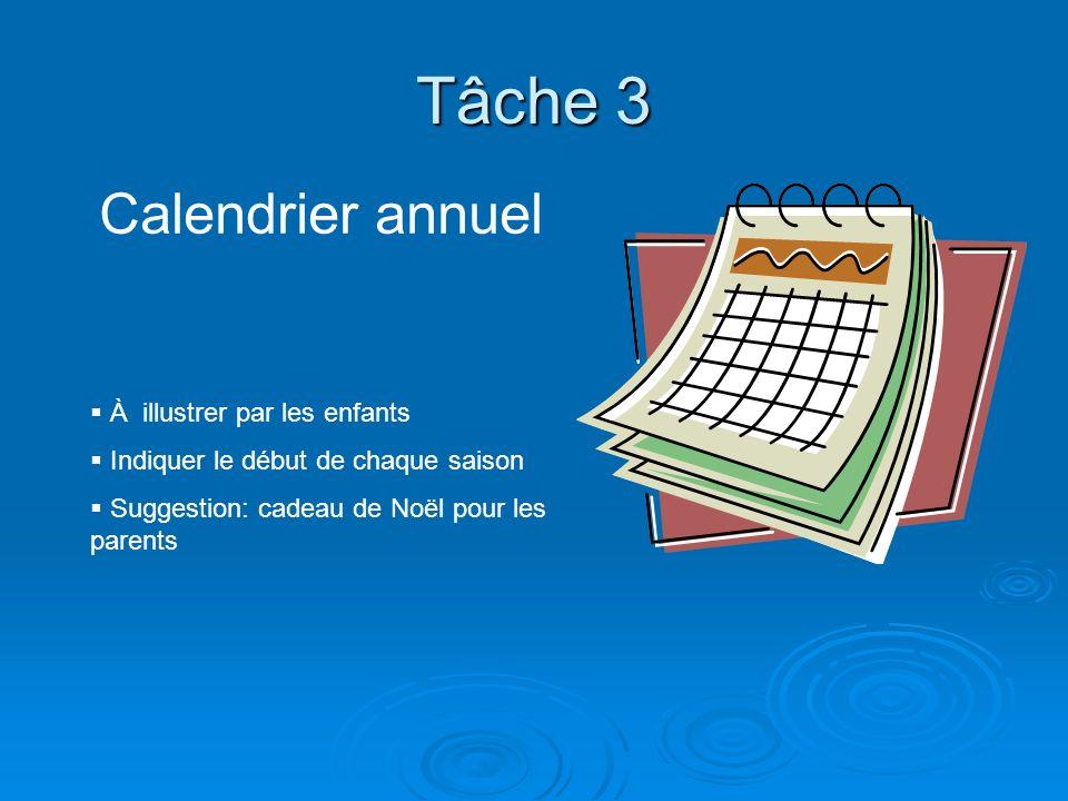 Tâche 3 Calendrier annuel À illustrer par les enfants Indiquer le début de chaque saison Suggestion: cadeau de Noël pour les parents