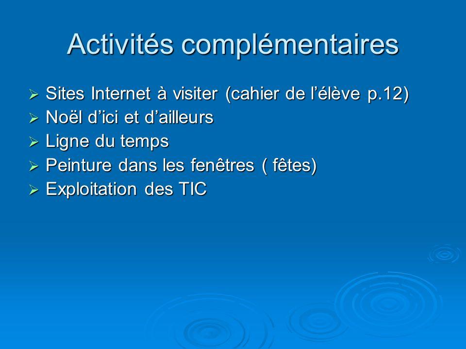 Activités complémentaires Sites Internet à visiter (cahier de lélève p.12) Sites Internet à visiter (cahier de lélève p.12) Noël dici et dailleurs Noë