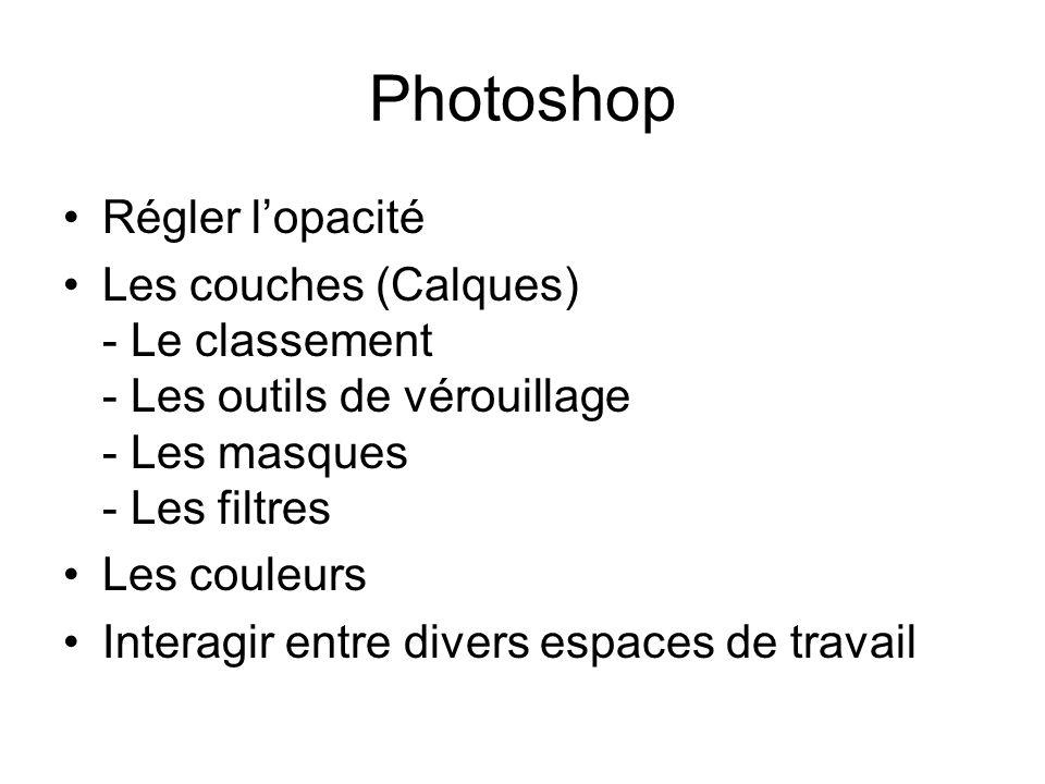 Photoshop Régler lopacité Les couches (Calques) - Le classement - Les outils de vérouillage - Les masques - Les filtres Les couleurs Interagir entre divers espaces de travail