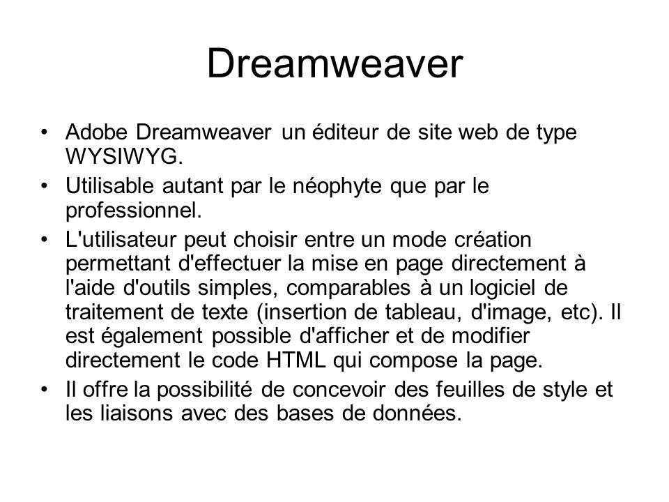 Dreamweaver Adobe Dreamweaver un éditeur de site web de type WYSIWYG. Utilisable autant par le néophyte que par le professionnel. L'utilisateur peut c