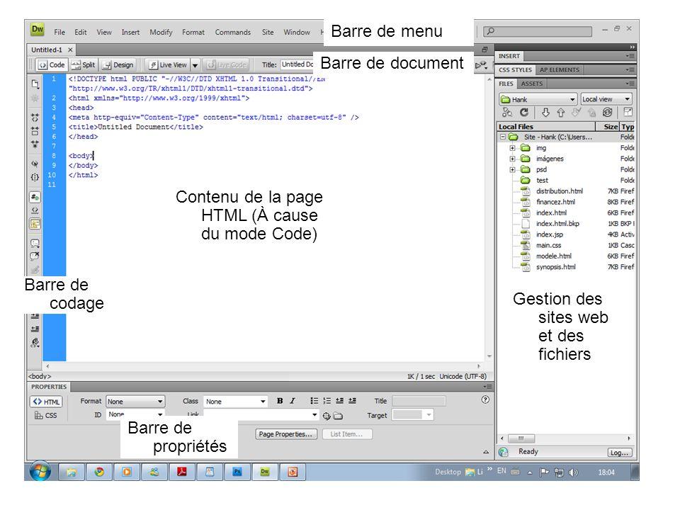 Barre de menu Barre de document Contenu de la page HTML (À cause du mode Code) Barre de codage Barre de propriétés Gestion des sites web et des fichie