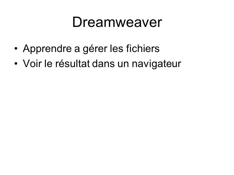 Dreamweaver Apprendre a gérer les fichiers Voir le résultat dans un navigateur