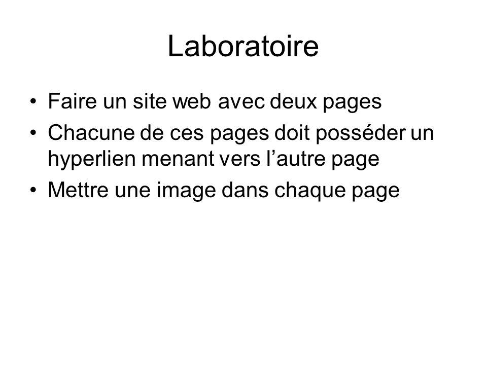 Laboratoire Faire un site web avec deux pages Chacune de ces pages doit posséder un hyperlien menant vers lautre page Mettre une image dans chaque pag
