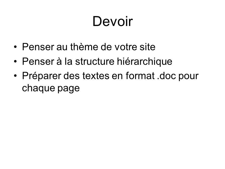 Devoir Penser au thème de votre site Penser à la structure hiérarchique Préparer des textes en format.doc pour chaque page