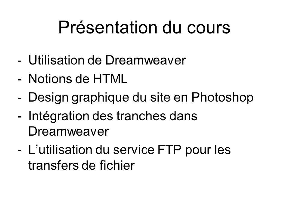 Présentation du cours -Utilisation de Dreamweaver -Notions de HTML -Design graphique du site en Photoshop -Intégration des tranches dans Dreamweaver -Lutilisation du service FTP pour les transfers de fichier