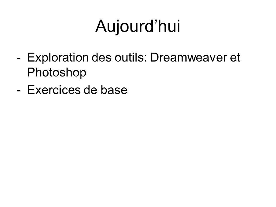 Aujourdhui -Exploration des outils: Dreamweaver et Photoshop -Exercices de base