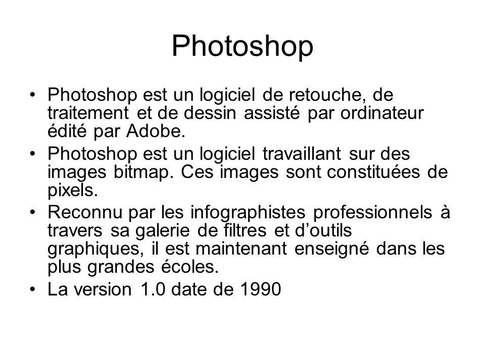 Photoshop Photoshop est un logiciel de retouche, de traitement et de dessin assisté par ordinateur édité par Adobe. Photoshop est un logiciel travaill