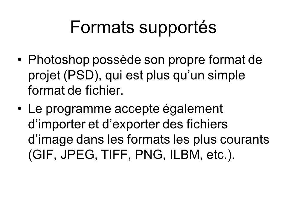 Formats supportés Photoshop possède son propre format de projet (PSD), qui est plus quun simple format de fichier. Le programme accepte également dimp