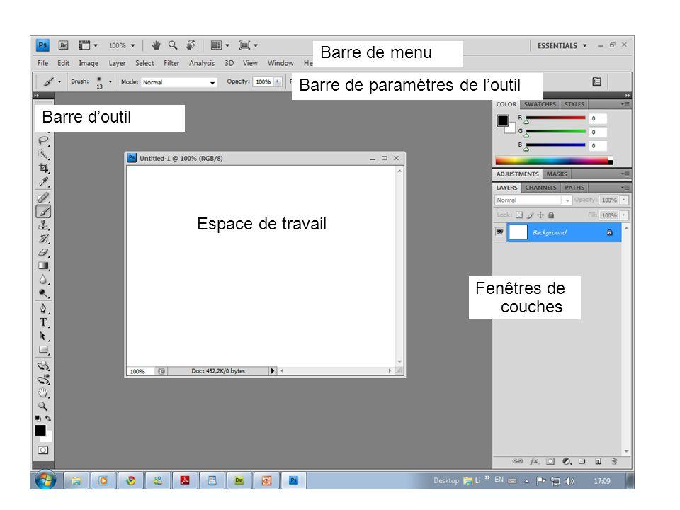 Barre de menu Espace de travail Barre doutil Fenêtres de couches Barre de paramètres de loutil