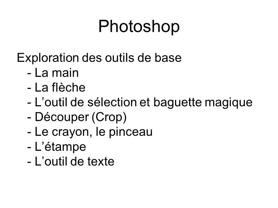 Photoshop Exploration des outils de base - La main - La flèche - Loutil de sélection et baguette magique - Découper (Crop) - Le crayon, le pinceau - Létampe - Loutil de texte