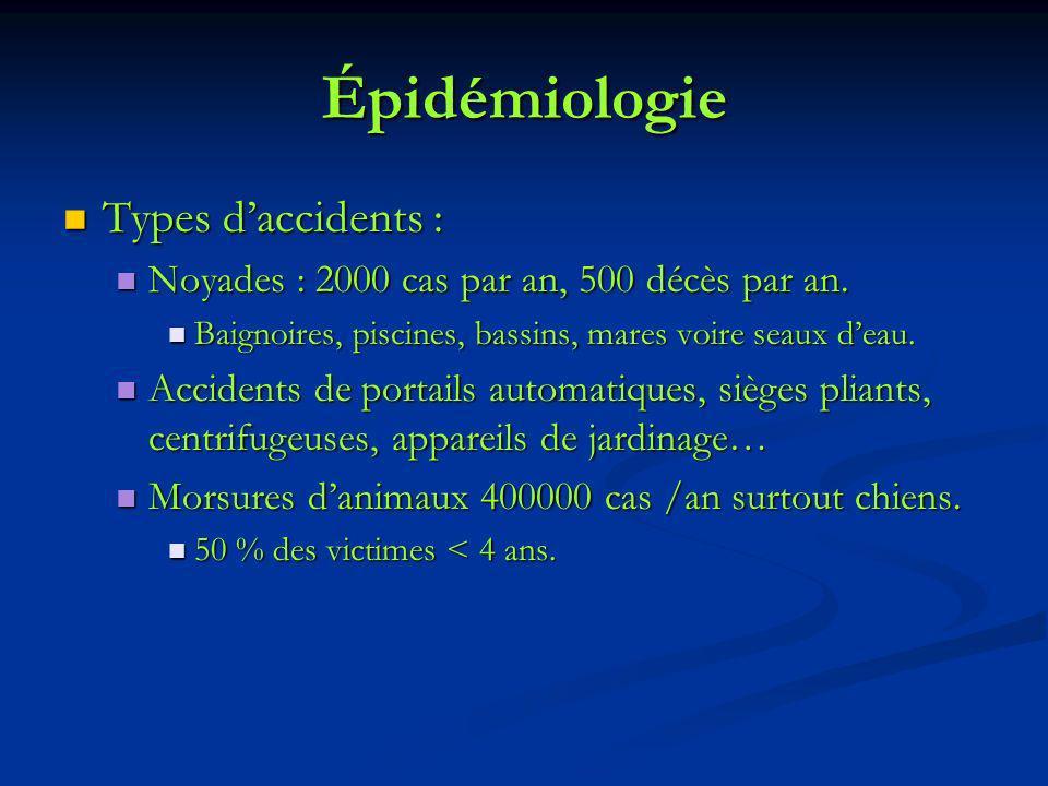 Épidémiologie Types daccidents : Types daccidents : Noyades : 2000 cas par an, 500 décès par an. Noyades : 2000 cas par an, 500 décès par an. Baignoir