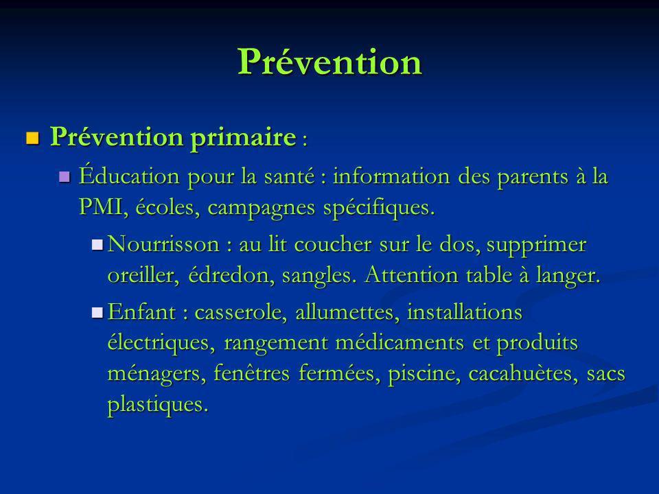Prévention Prévention primaire : Prévention primaire : Éducation pour la santé : information des parents à la PMI, écoles, campagnes spécifiques. Éduc