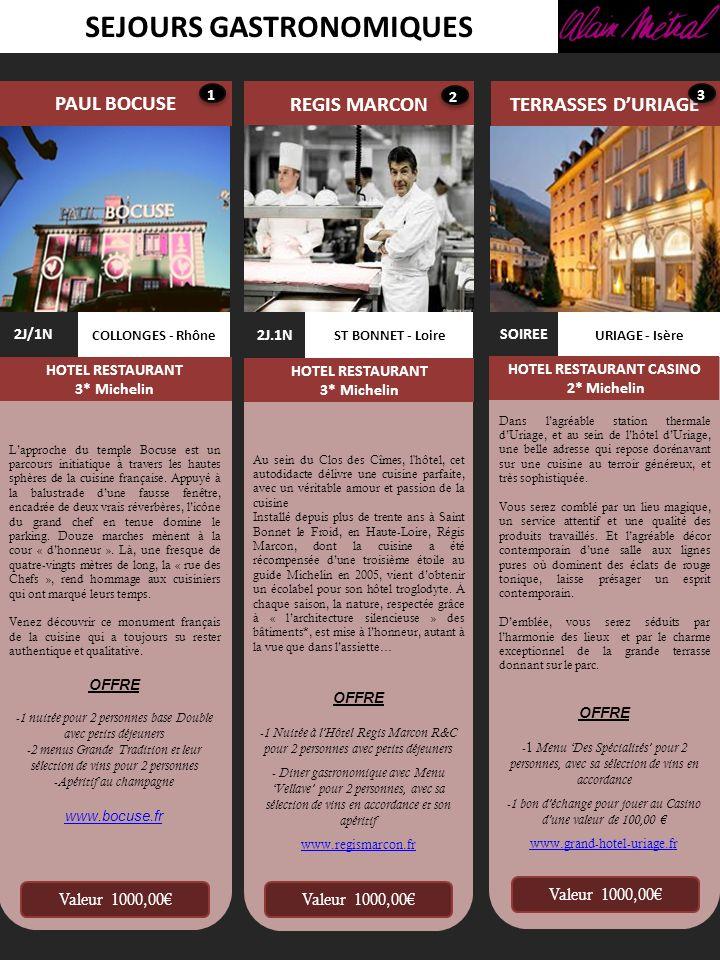 SEJOURS GASTRONOMIQUES LA PYRAMIDE FLOCONS DE SEL VONNAS - Ain GEORGES BLANC 2J/1N HOTEL RESTAURANT SPA 3* Michelin VALENCE - Drôme 2J/1N HOTEL RESTAURANT 3* Michelin MEGEVE – Haute Savoie 2J/1N HOTEL RESTAURANT 3* Michelin Valeur 1000,00 A partir de lauberge familial créée en 1872, Georges Blanc, chef de renom et entrepreneur visionnaire, a bâti un empire des sens avec ses résidences et son spa de rêve.