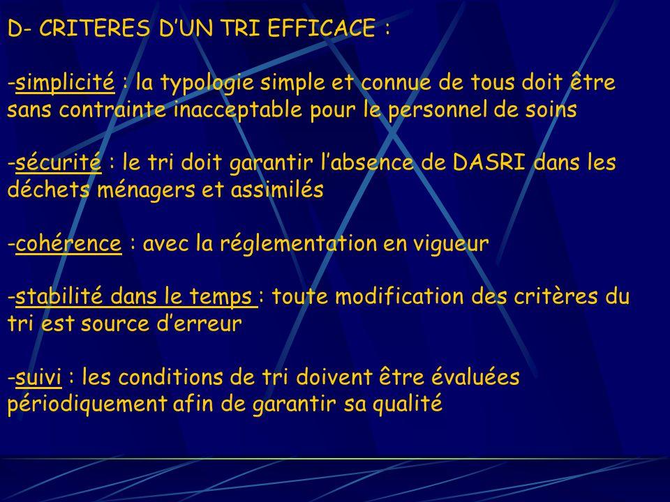 D- CRITERES DUN TRI EFFICACE : -simplicité : la typologie simple et connue de tous doit être sans contrainte inacceptable pour le personnel de soins -