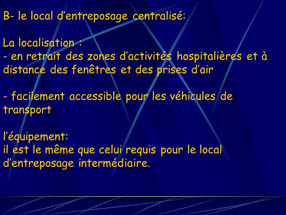 B- le local dentreposage centralisé: La localisation : - en retrait des zones dactivités hospitalières et à distance des fenêtres et des prises dair -