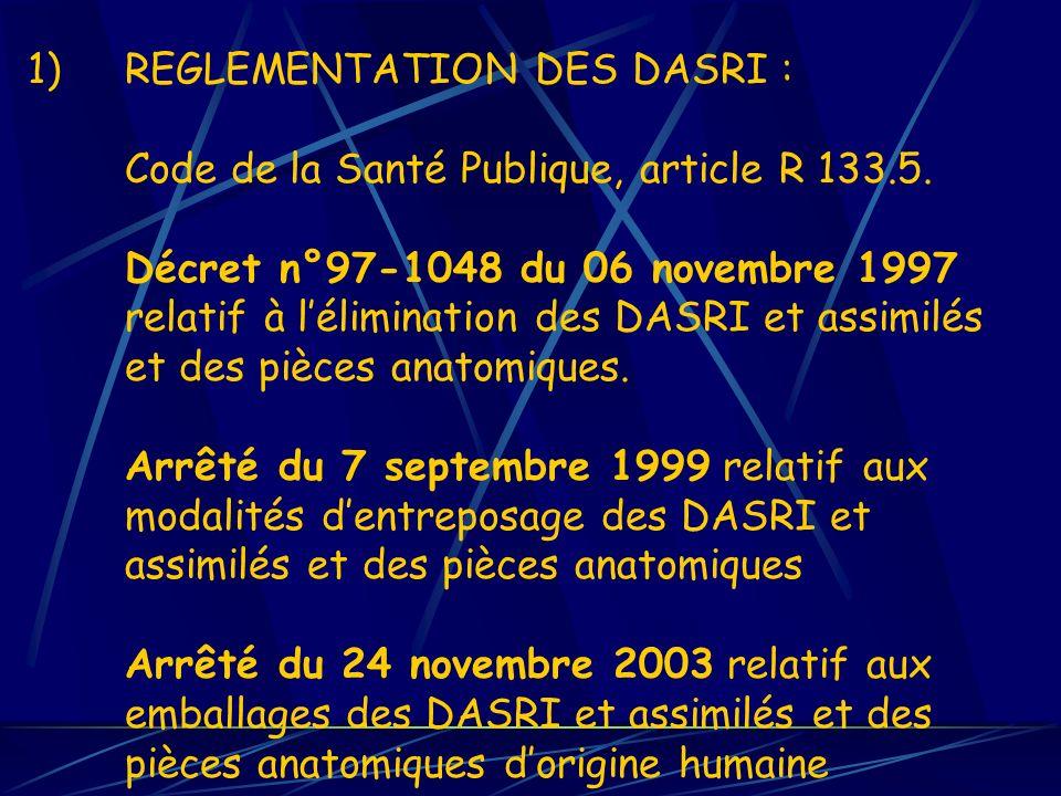1)REGLEMENTATION DES DASRI : Code de la Santé Publique, article R 133.5. Décret n°97-1048 du 06 novembre 1997 relatif à lélimination des DASRI et assi