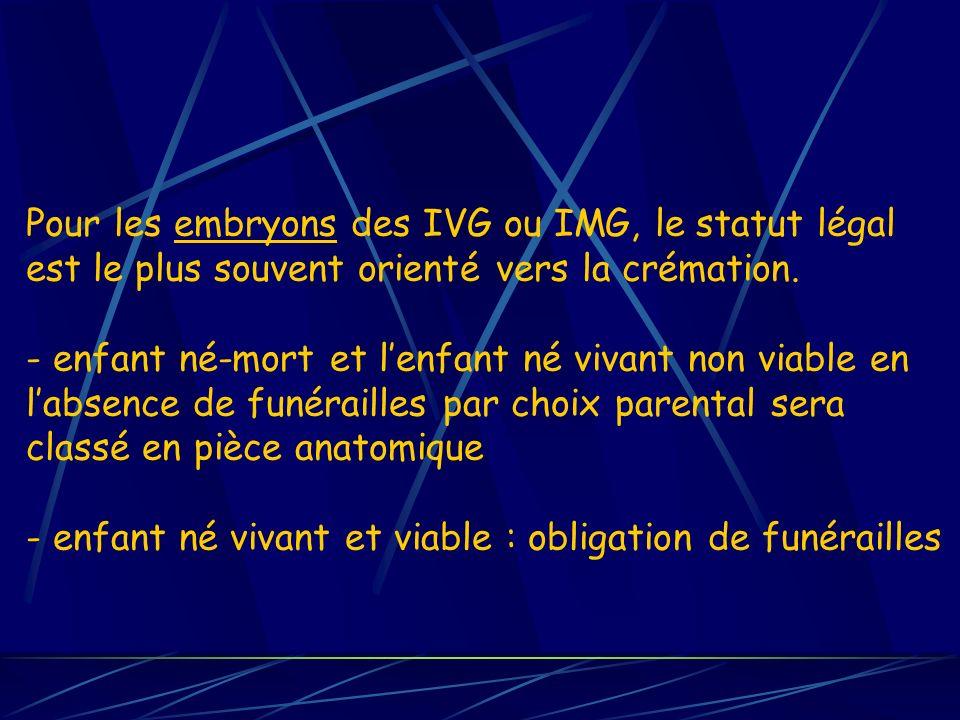Pour les embryons des IVG ou IMG, le statut légal est le plus souvent orienté vers la crémation. - enfant né-mort et lenfant né vivant non viable en l