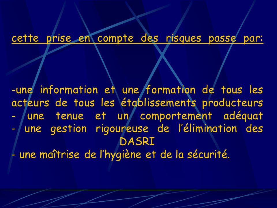 cette prise en compte des risques passe par: -une information et une formation de tous les acteurs de tous les établissements producteurs - une tenue