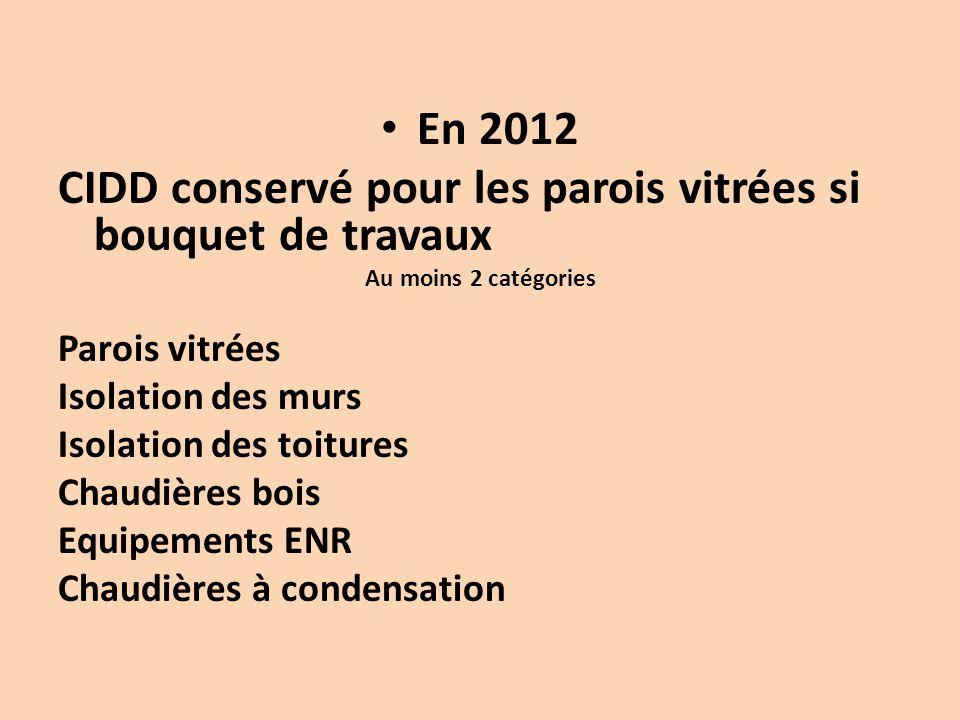 En 2012 CIDD conservé pour les parois vitrées si bouquet de travaux Au moins 2 catégories Parois vitrées Isolation des murs Isolation des toitures Chaudières bois Equipements ENR Chaudières à condensation