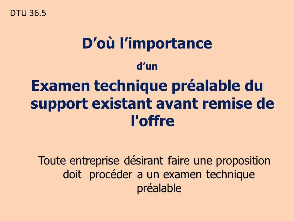 DTU 36.5 Doù limportance dun Examen technique préalable du support existant avant remise de l offre Toute entreprise désirant faire une proposition doit procéder a un examen technique préalable