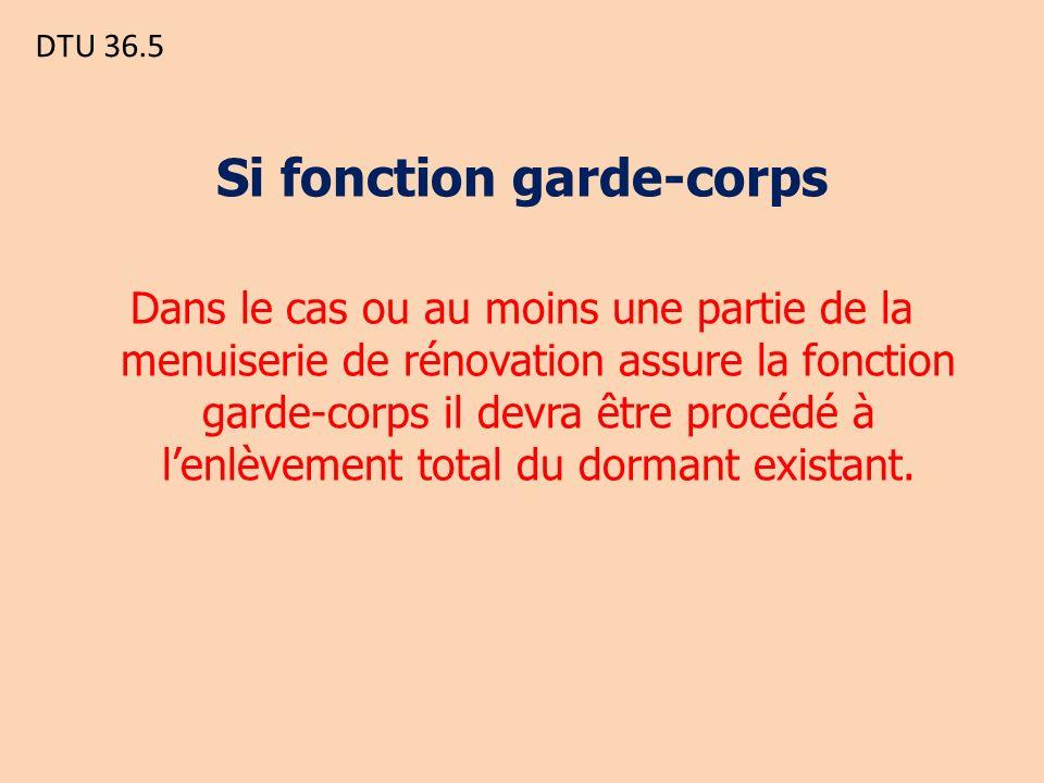 DTU 36.5 Si fonction garde-corps Dans le cas ou au moins une partie de la menuiserie de rénovation assure la fonction garde-corps il devra être procédé à lenlèvement total du dormant existant.