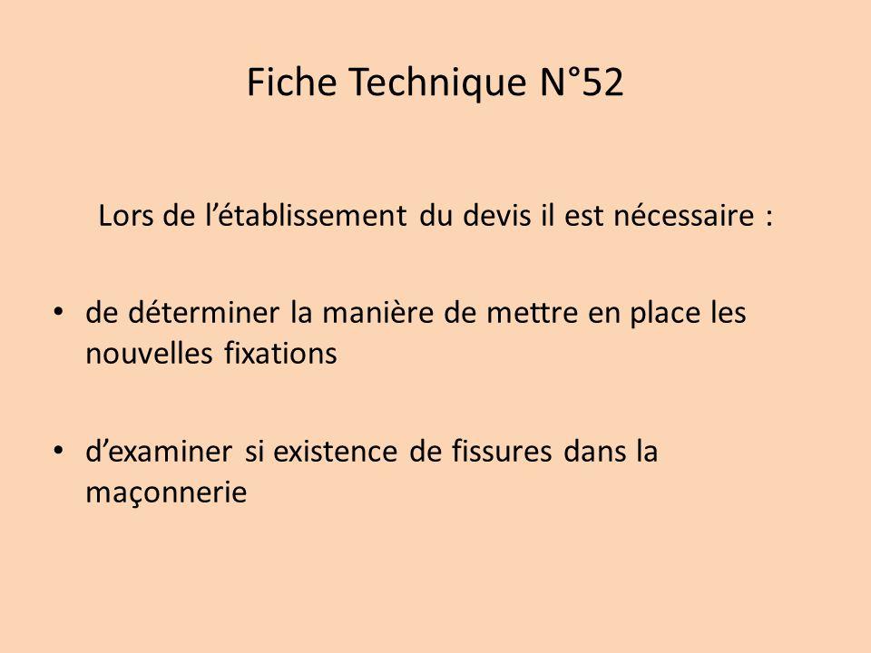 Fiche Technique N°52 Lors de létablissement du devis il est nécessaire : de déterminer la manière de mettre en place les nouvelles fixations dexaminer si existence de fissures dans la maçonnerie