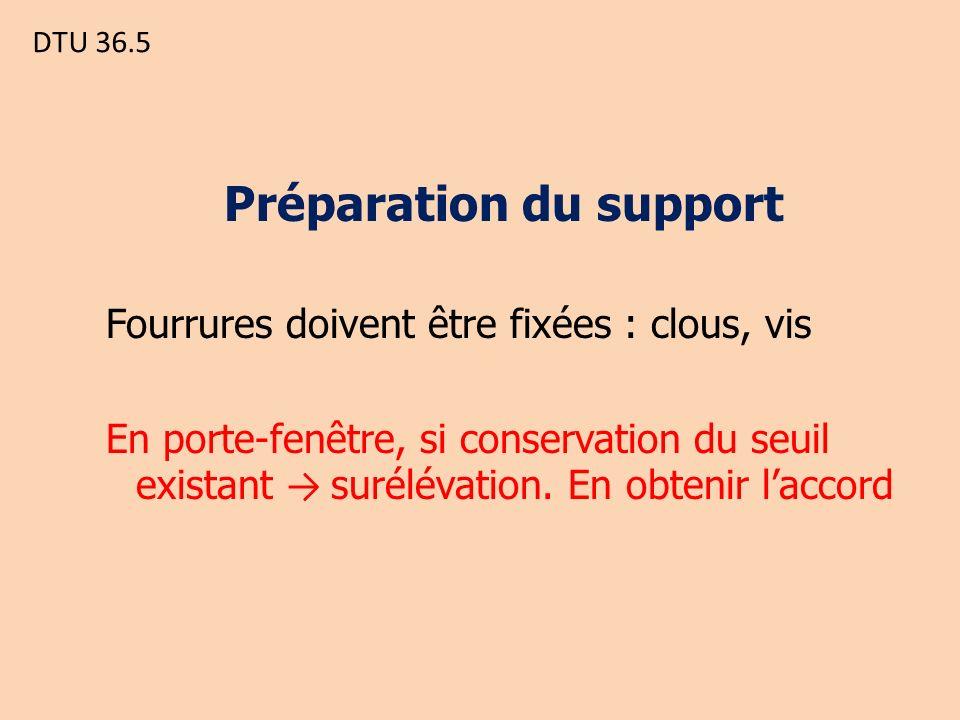 DTU 36.5 Préparation du support Fourrures doivent être fixées : clous, vis En porte-fenêtre, si conservation du seuil existant surélévation.