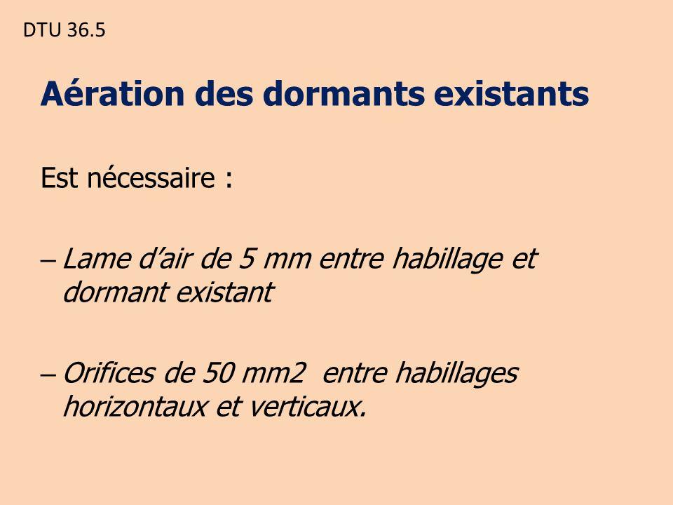 DTU 36.5 Aération des dormants existants Est nécessaire : – Lame dair de 5 mm entre habillage et dormant existant – Orifices de 50 mm2 entre habillages horizontaux et verticaux.