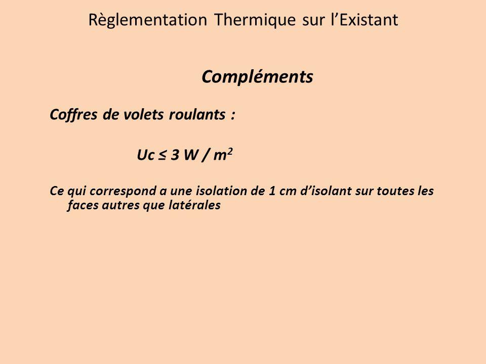 Règlementation Thermique sur lExistant Compléments Coffres de volets roulants : Uc 3 W / m 2 Ce qui correspond a une isolation de 1 cm disolant sur toutes les faces autres que latérales