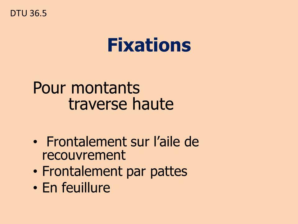 DTU 36.5 Fixations Pour montants traverse haute Frontalement sur laile de recouvrement Frontalement par pattes En feuillure
