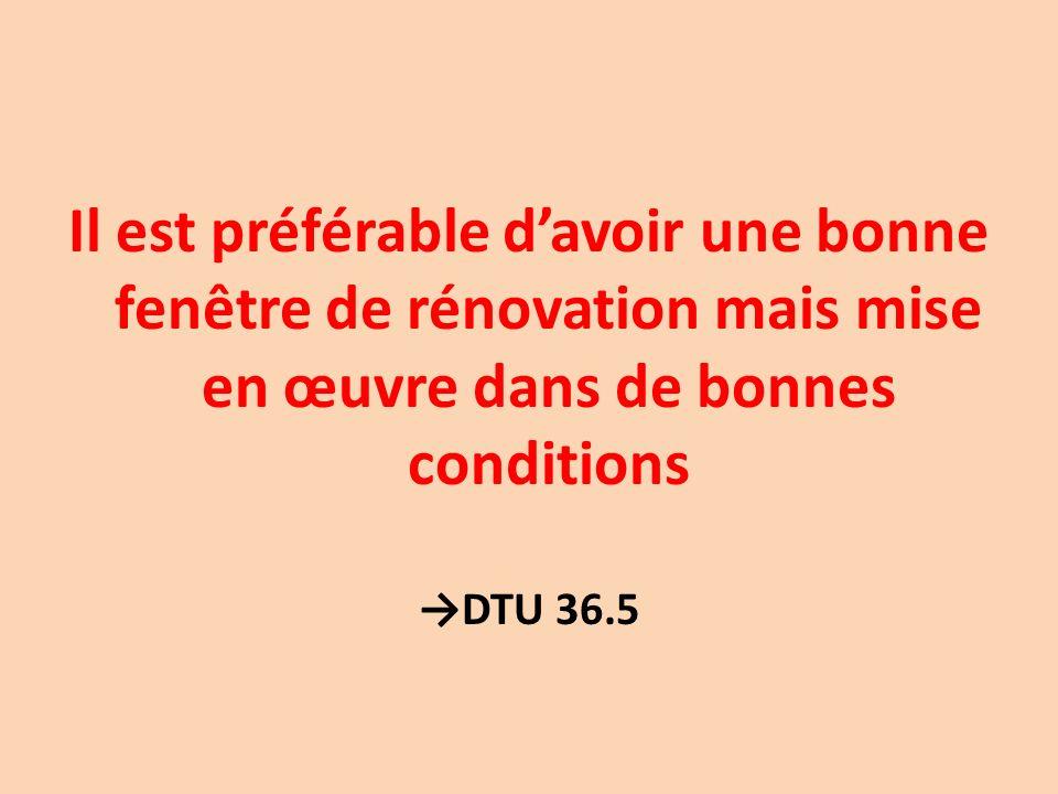 Il est préférable davoir une bonne fenêtre de rénovation mais mise en œuvre dans de bonnes conditions DTU 36.5