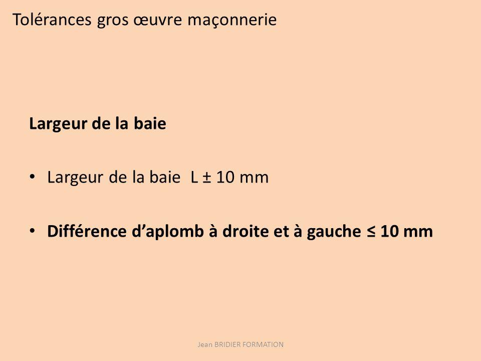 Tolérances gros œuvre maçonnerie Largeur de la baie Largeur de la baie L ± 10 mm Différence daplomb à droite et à gauche 10 mm Jean BRIDIER FORMATION