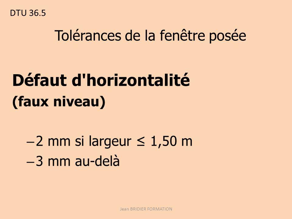 DTU 36.5 Tolérances de la fenêtre posée Défaut d horizontalité (faux niveau) – 2 mm si largeur 1,50 m – 3 mm au-delà Jean BRIDIER FORMATION