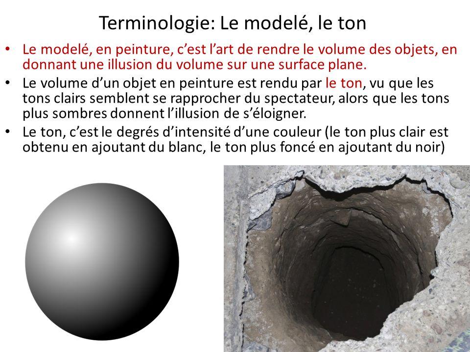 Terminologie: Le modelé, le ton Le modelé, en peinture, cest lart de rendre le volume des objets, en donnant une illusion du volume sur une surface plane.