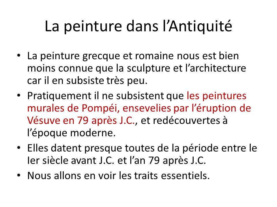 Les traits caractéristiques: lillusionnisme, le trompe lœil Dabord imitation de revêtement de marbre, après 100 avant J.C., la peinture murale cherche à repousser ou ouvrir la surface des murs par des « fenêtres » ouvertes sur des paysages ou des personnages.