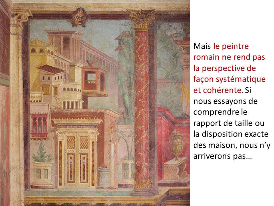 Mais le peintre romain ne rend pas la perspective de façon systématique et cohérente.