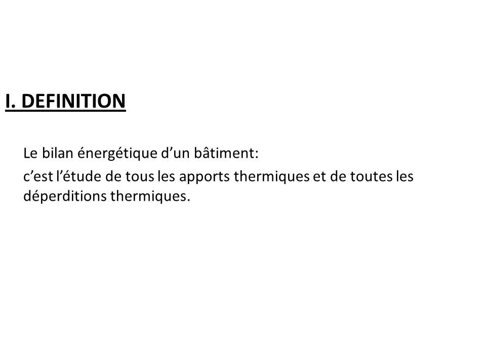 I. DEFINITION Le bilan énergétique dun bâtiment: cest létude de tous les apports thermiques et de toutes les déperditions thermiques.