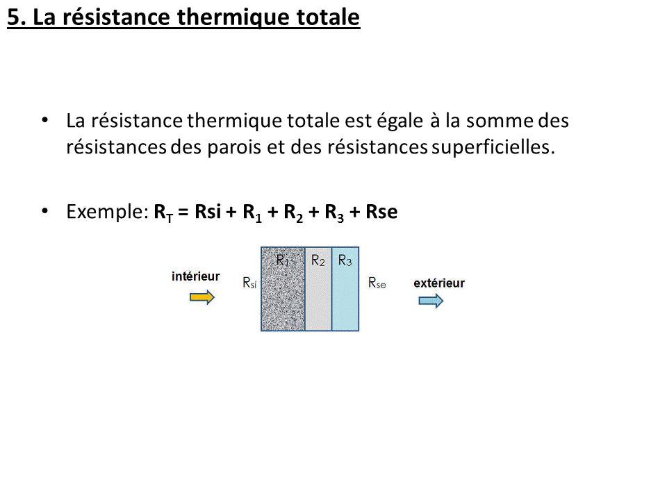 La résistance thermique totale est égale à la somme des résistances des parois et des résistances superficielles. Exemple: R T = Rsi + R 1 + R 2 + R 3