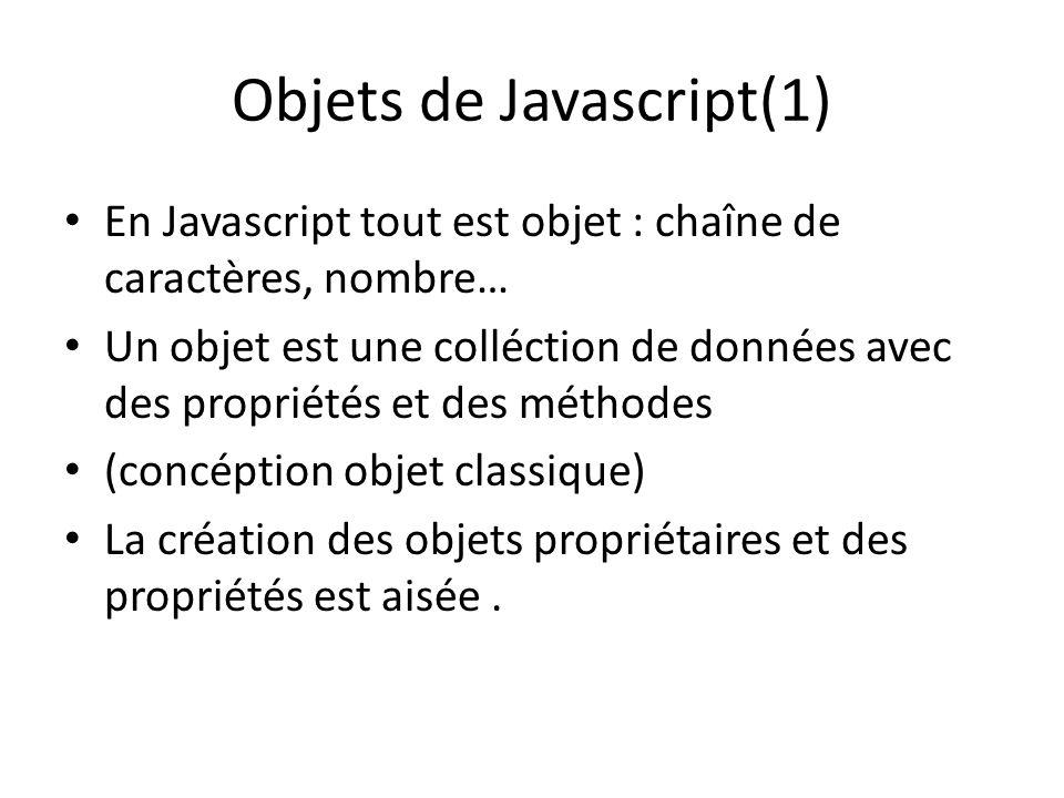 Objets de Javascript(1) En Javascript tout est objet : chaîne de caractères, nombre… Un objet est une colléction de données avec des propriétés et des