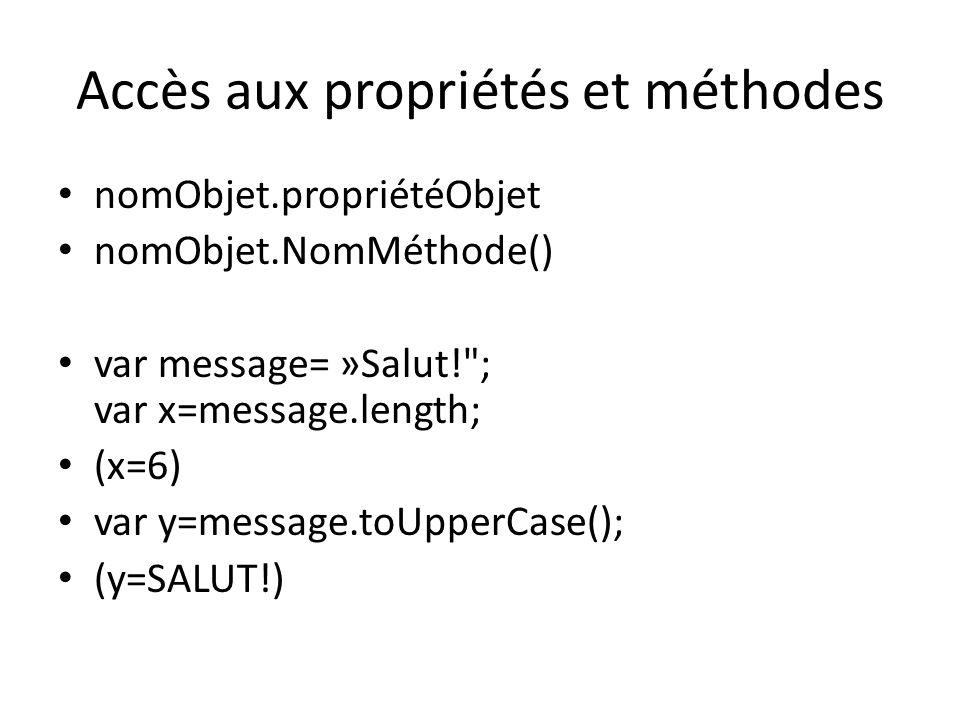 Accès aux propriétés et méthodes nomObjet.propriétéObjet nomObjet.NomMéthode() var message= »Salut!