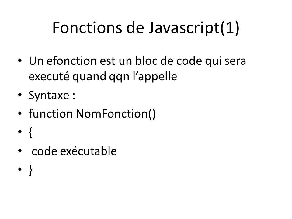 Fonctions de Javascript(1) Un efonction est un bloc de code qui sera executé quand qqn lappelle Syntaxe : function NomFonction() { code exécutable }
