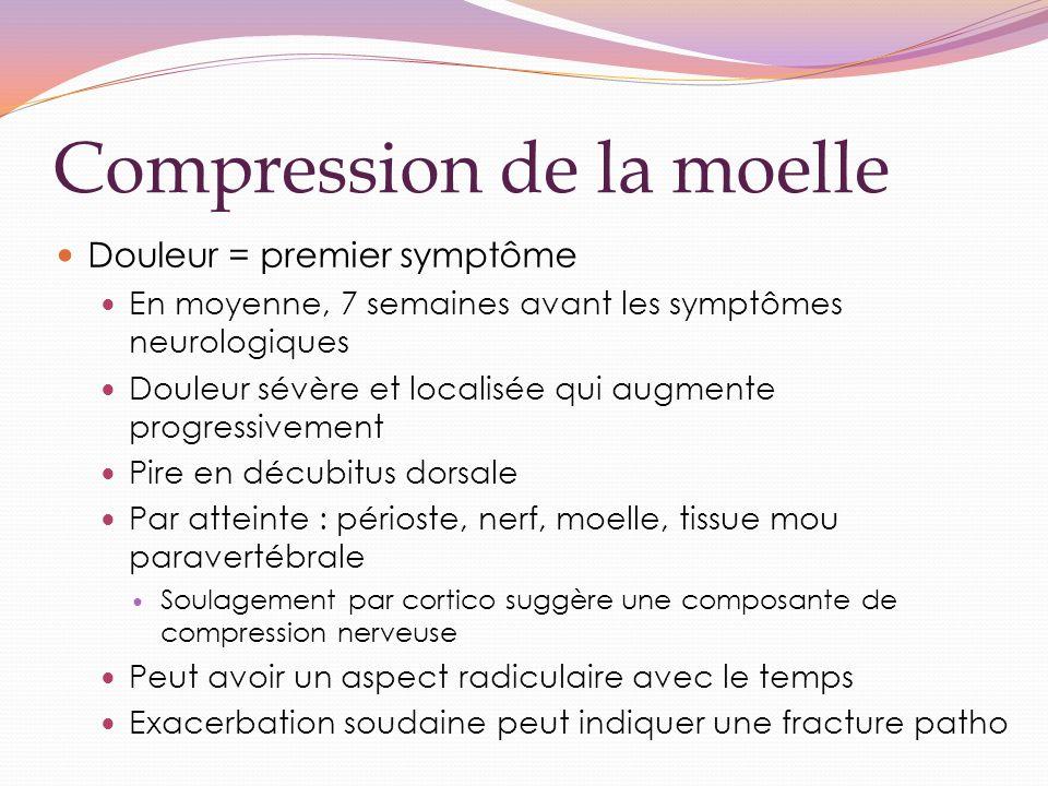 Compression de la moelle Douleur = premier symptôme En moyenne, 7 semaines avant les symptômes neurologiques Douleur sévère et localisée qui augmente
