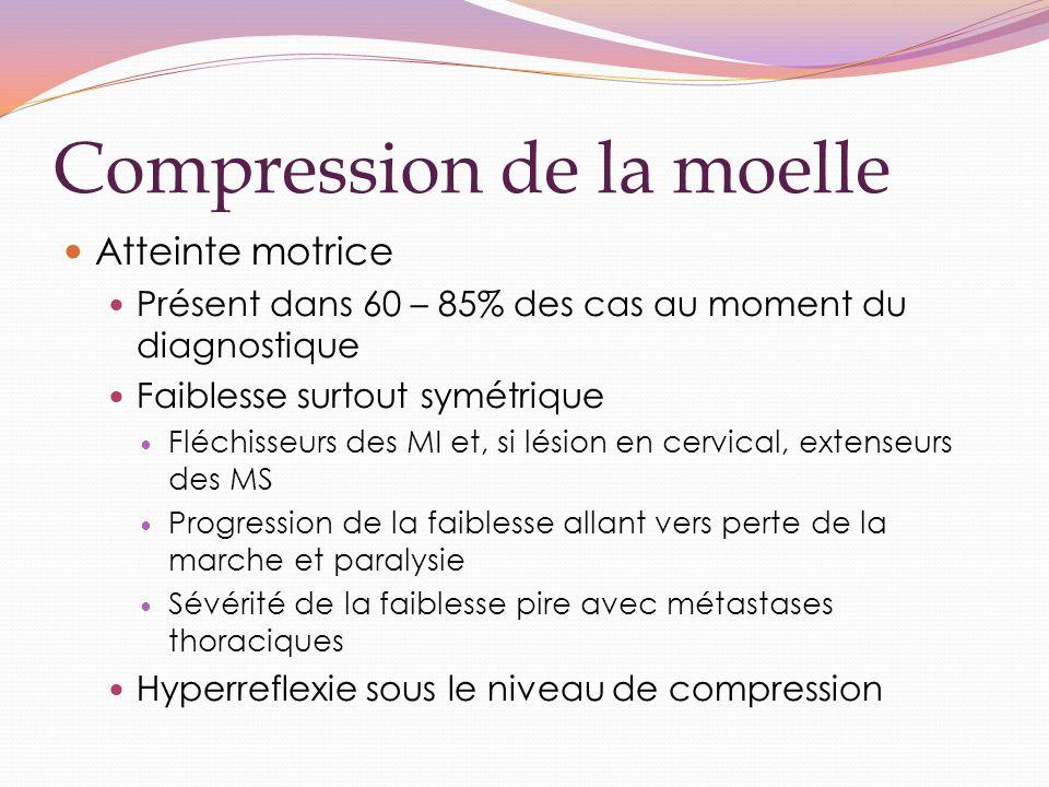 Compression de la moelle Atteinte motrice Présent dans 60 – 85% des cas au moment du diagnostique Faiblesse surtout symétrique Fléchisseurs des MI et, si lésion en cervical, extenseurs des MS Progression de la faiblesse allant vers perte de la marche et paralysie Sévérité de la faiblesse pire avec métastases thoraciques Hyperreflexie sous le niveau de compression