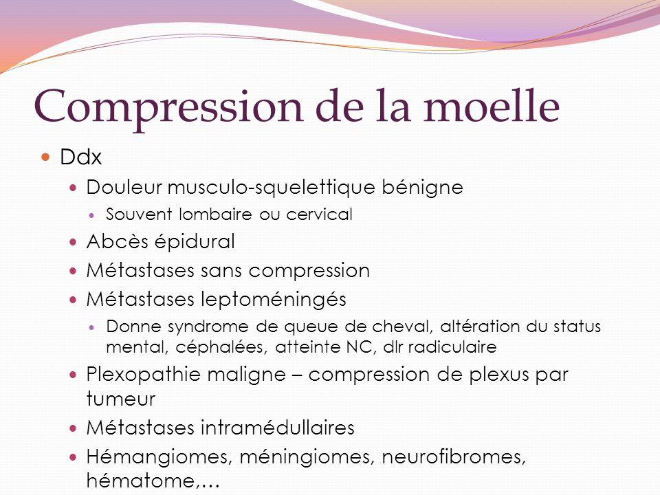 Compression de la moelle Ddx Douleur musculo-squelettique bénigne Souvent lombaire ou cervical Abcès épidural Métastases sans compression Métastases leptoméningés Donne syndrome de queue de cheval, altération du status mental, céphalées, atteinte NC, dlr radiculaire Plexopathie maligne – compression de plexus par tumeur Métastases intramédullaires Hémangiomes, méningiomes, neurofibromes, hématome,…