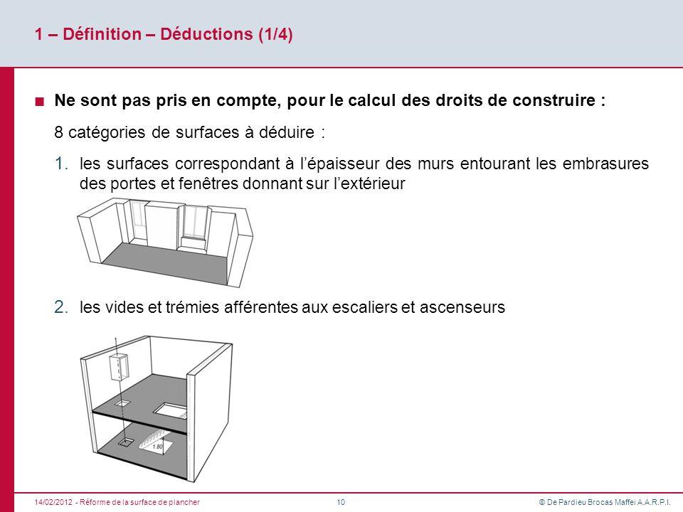 © De Pardieu Brocas Maffei A.A.R.P.I. 1 – Définition – Déductions (1/4) Ne sont pas pris en compte, pour le calcul des droits de construire : 8 catégo