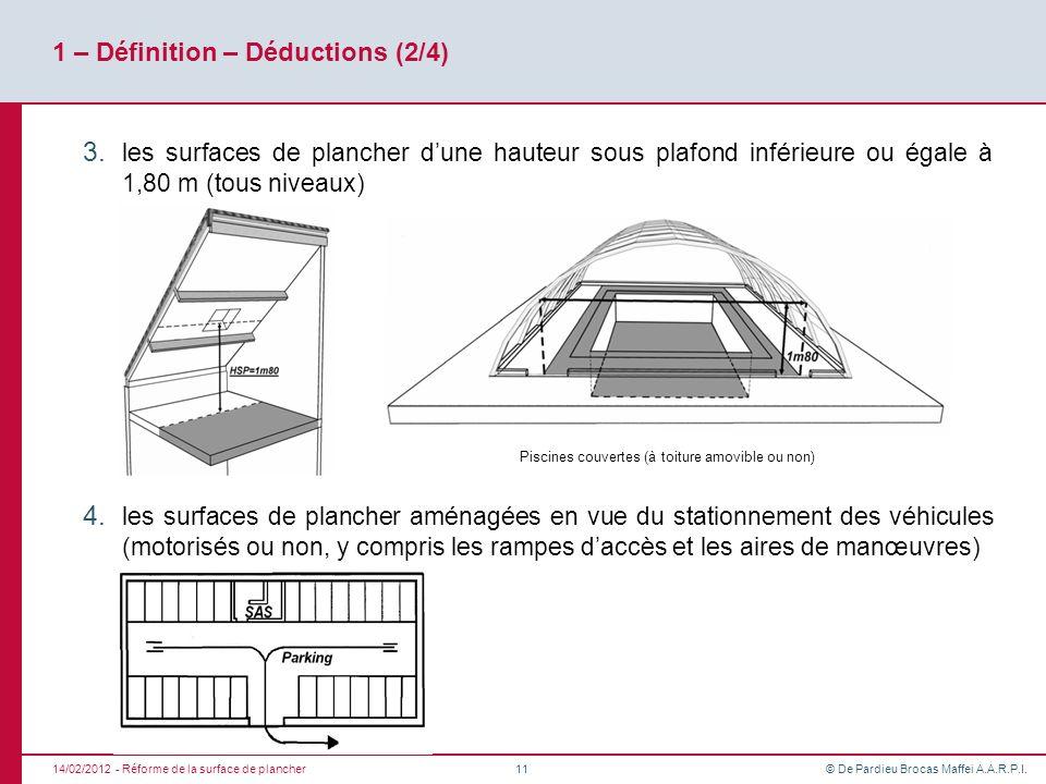 © De Pardieu Brocas Maffei A.A.R.P.I. 1 – Définition – Déductions (2/4) 3. les surfaces de plancher dune hauteur sous plafond inférieure ou égale à 1,